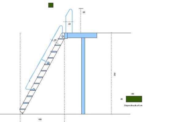 Dřevěné schody na podestu