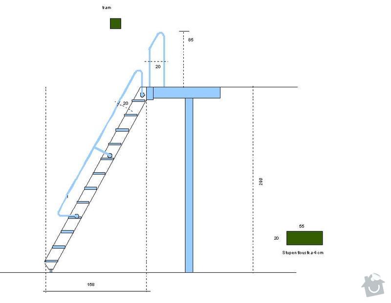 Dřevěné schody na podestu: planek