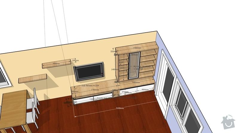 Nábytek do obývacího pokoje: TVsestava_pohled2