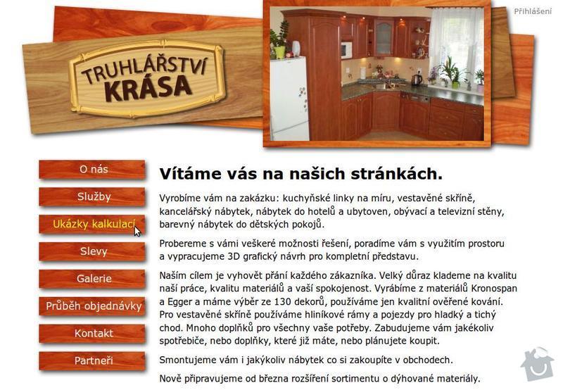 Tvorba internetové prezentace www.truhlarstvi-krasa.cz: Uvodni_strana_webu_-_Truhlarstvi_Krasa