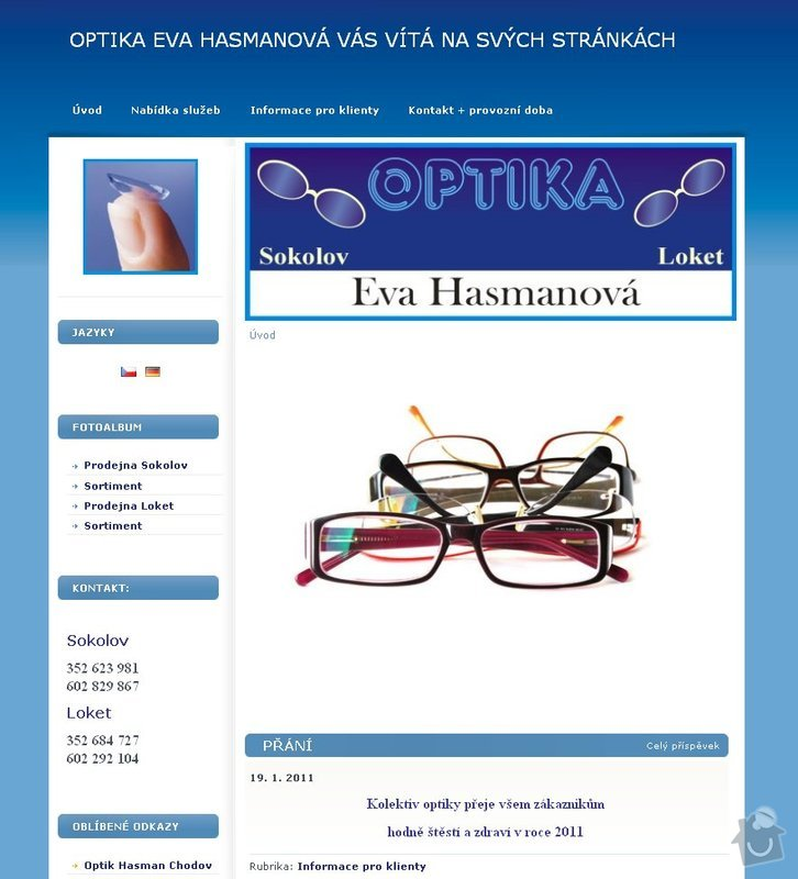 Tvorba www stránek - prodejna optiky: optika_Hasmanova