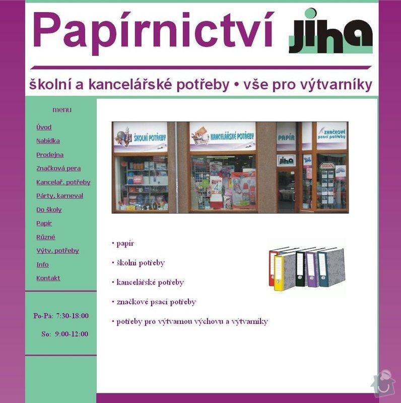 Vytvoření webových stránek - prodejna papírnictví : jiha