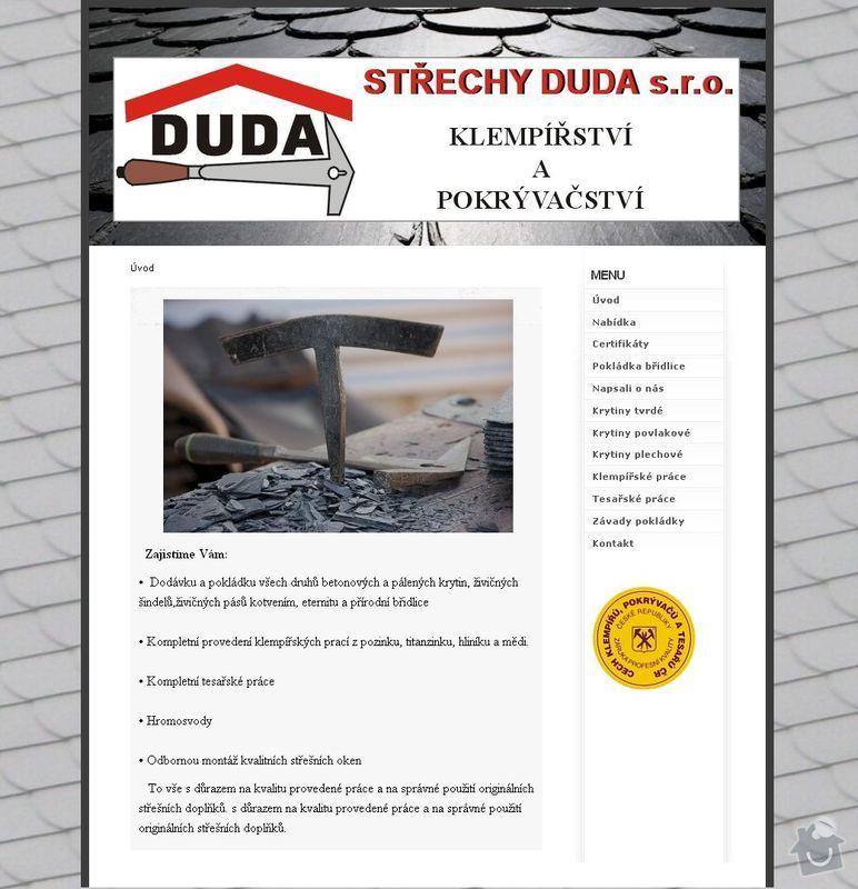 Www stránky - pokrývačství: strechy_duda
