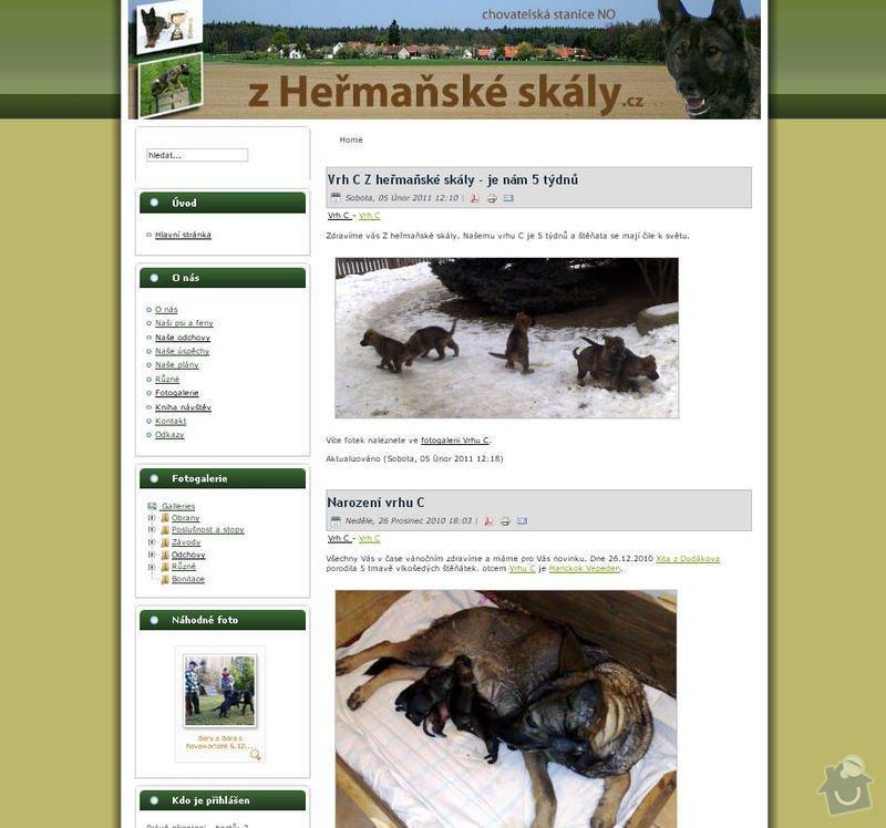 Vytvoření internetových stránek pro CHS Z heřmaňské skály: 1