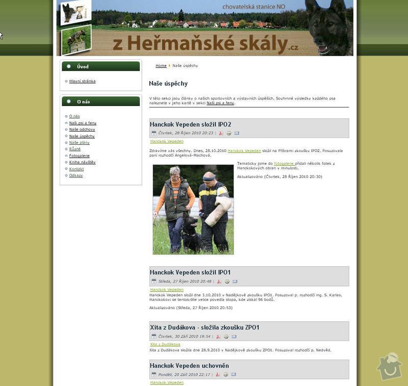 Vytvoření internetových stránek pro CHS Z heřmaňské skály: 2