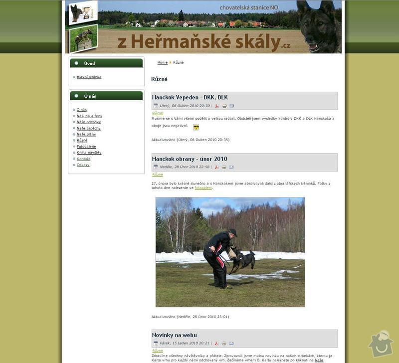 Vytvoření internetových stránek pro CHS Z heřmaňské skály: 3
