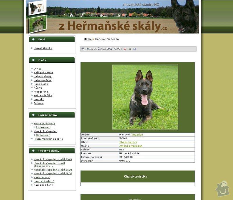 Vytvoření internetových stránek pro CHS Z heřmaňské skály: 8