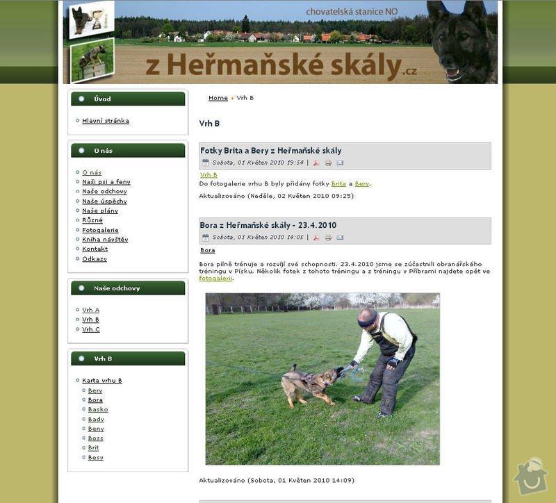Vytvoření internetových stránek pro CHS Z heřmaňské skály: 10