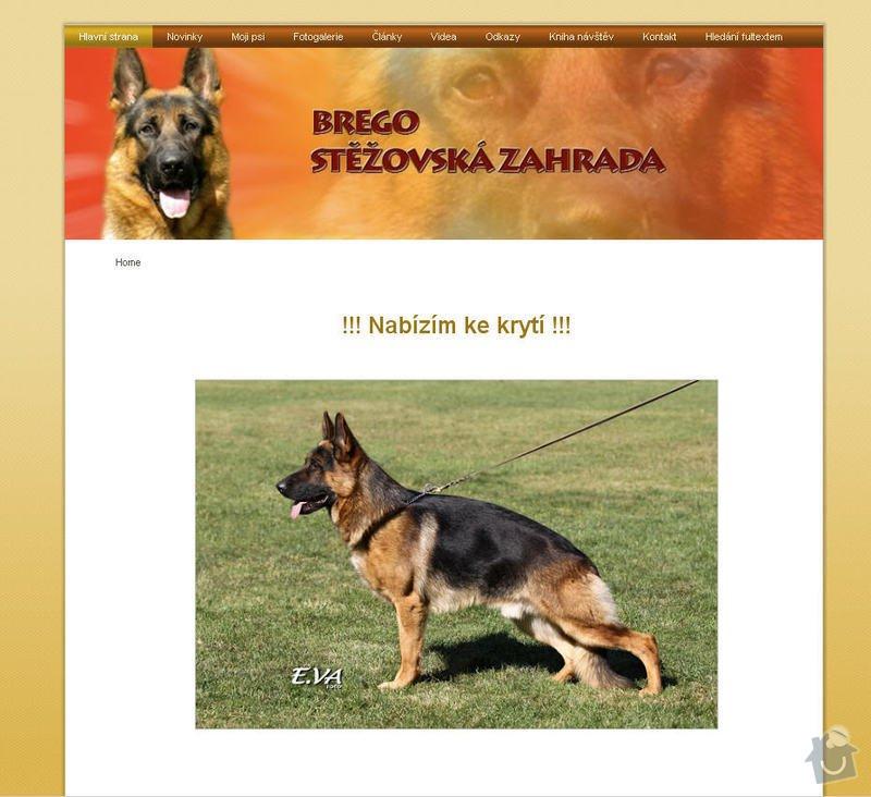 Vytvoření internetových stránek pro majitelku chovného psa: 1