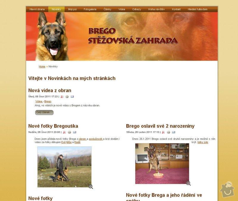 Vytvoření internetových stránek pro majitelku chovného psa: 2