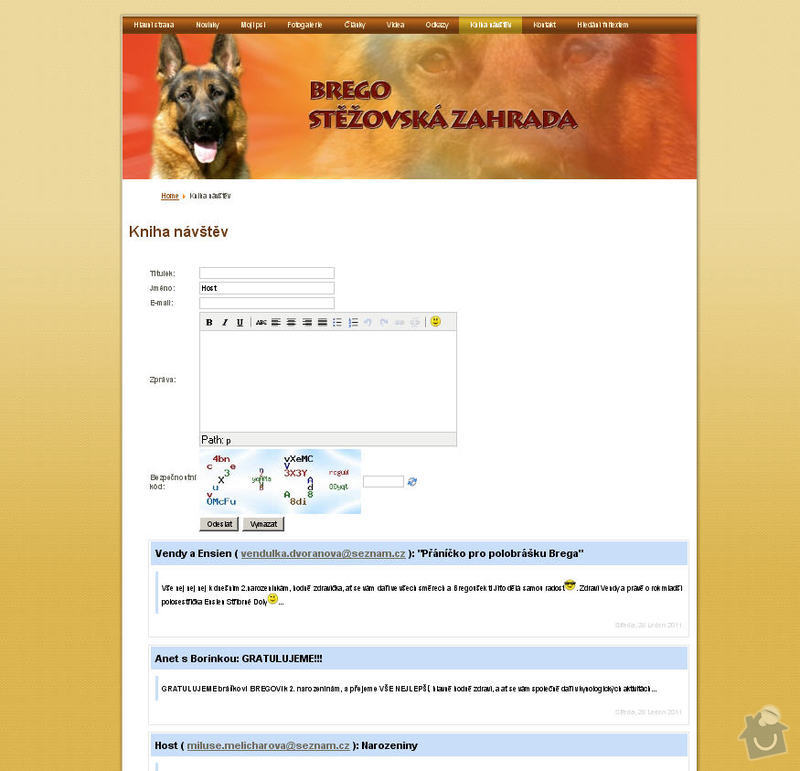 Vytvoření internetových stránek pro majitelku chovného psa: 8