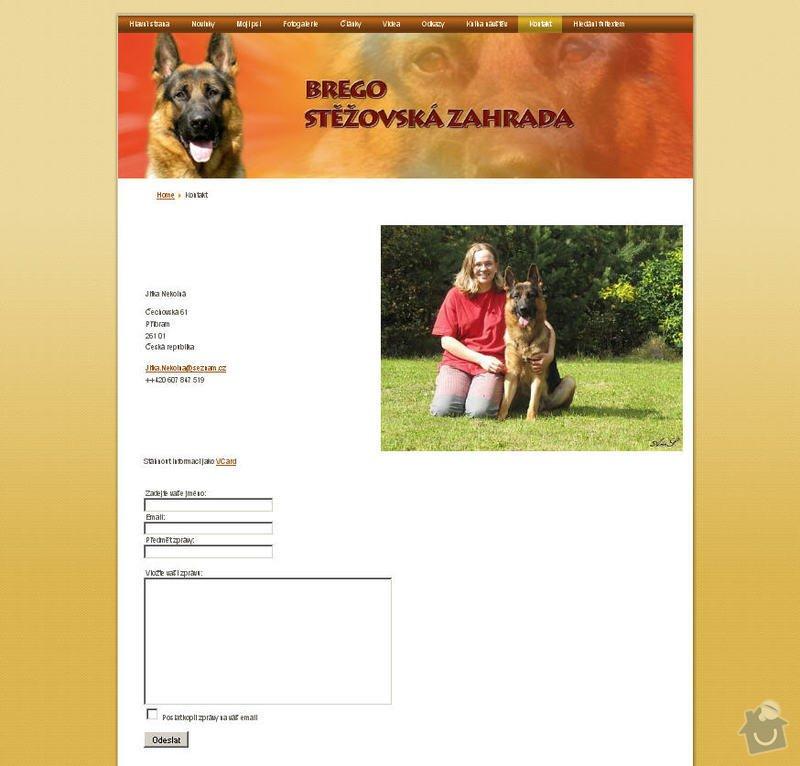 Vytvoření internetových stránek pro majitelku chovného psa: 9