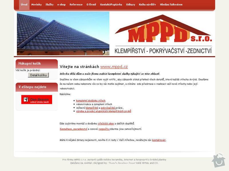 Vytvoření internetových stránek pro firmu MPPD s.r.o.: 1