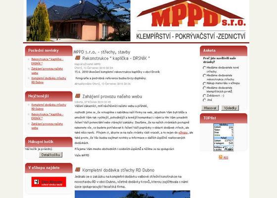 Vytvoření internetových stránek pro firmu MPPD s.r.o.