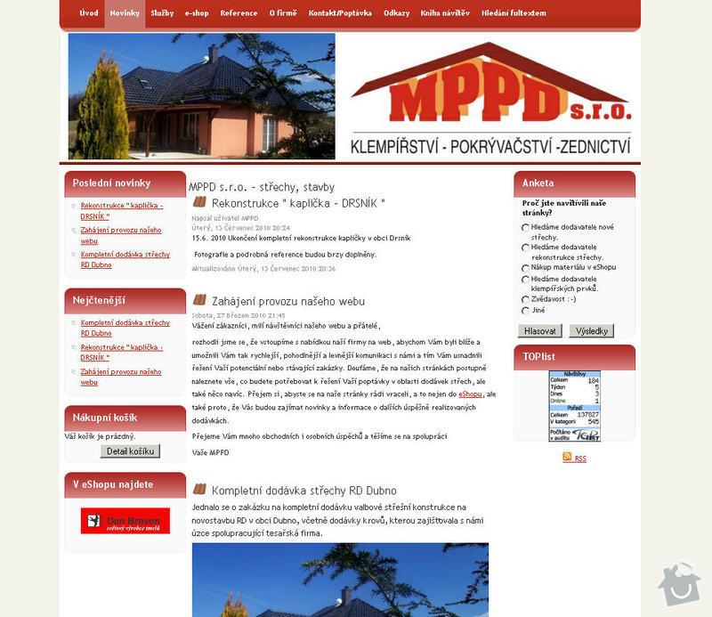 Vytvoření internetových stránek pro firmu MPPD s.r.o.: 2