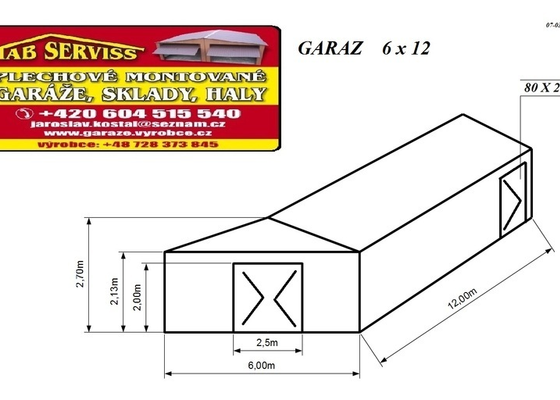Plechová garáž 6 x 12 m