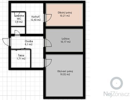 Nové elektrorozvody v bytě 3+1: pudorys_byt