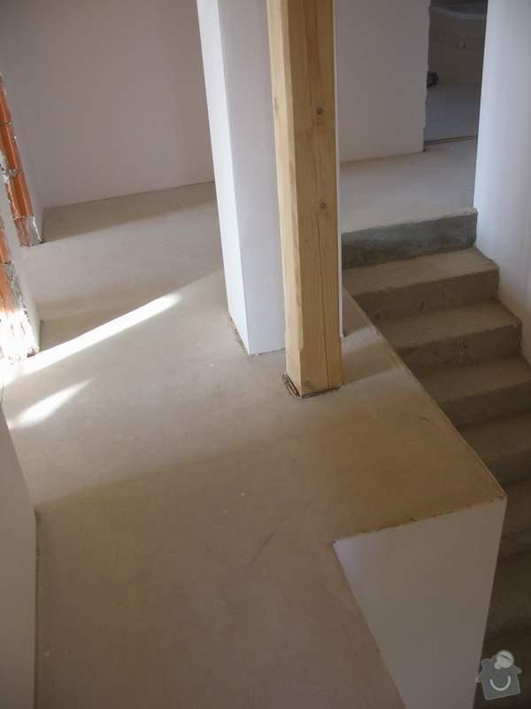 Dodávka a montáž masivní podlahy do obytných místností prvního patra novostavby: b