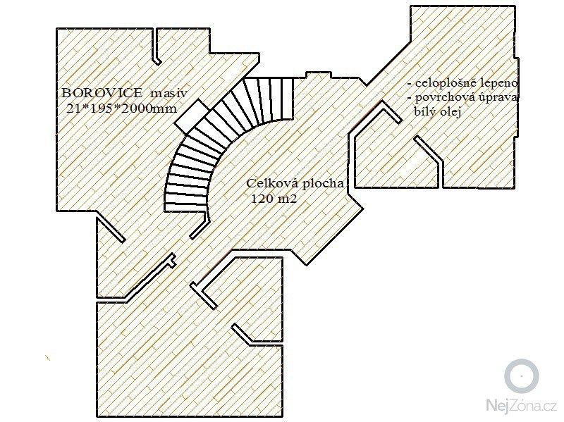 Dodávka a montáž masivní podlahy : Pudorys