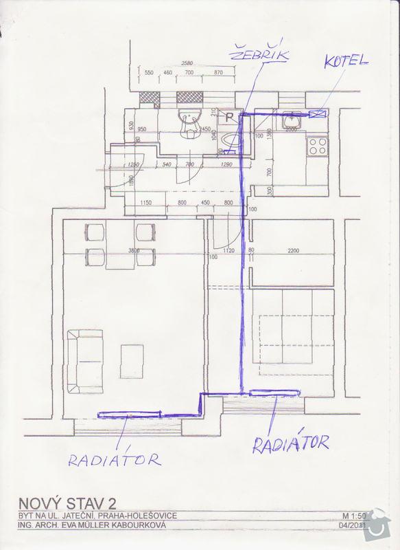 Plyn a topení - rozvod plynového potrubí, zapojení a instalace kotle + rozvod topenářského potrubí a instalace radiátorů: topeni_rozvod