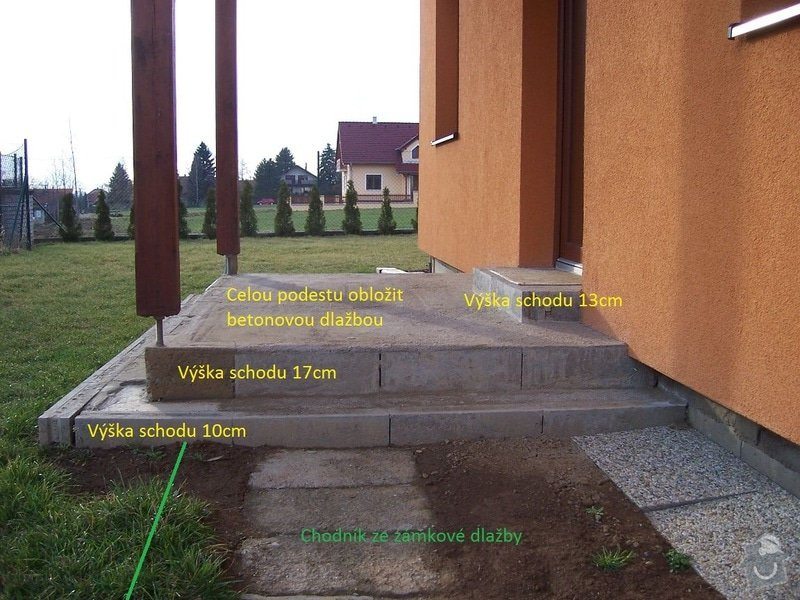 Chodníky ze zámkové dlažby, sokl, obklad podesty dlažbou: chodniky01_