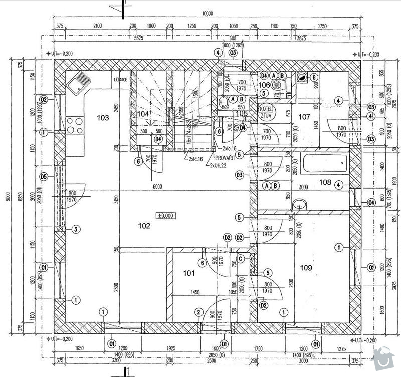 Sadrokartonový strop: pudorys_1NP