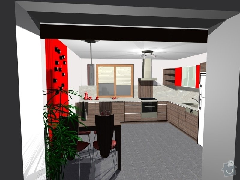 Kuchyňská linka: Pohled_z_obyvaku