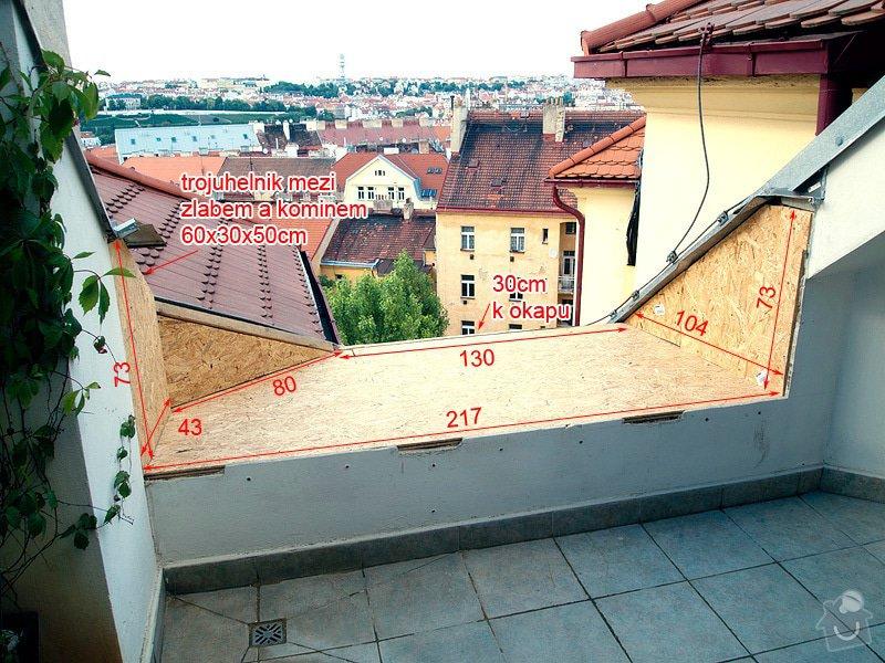 Klempířské práce, oplechování části terasy, cca 4m2.: koty