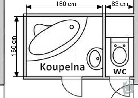 Rekonstrukce bytového jádra, koupelny: koupelna_miry