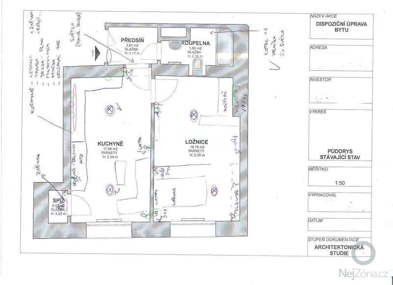 Rekonstrukce elektroinstalace v bytě 1+1: pudorysx