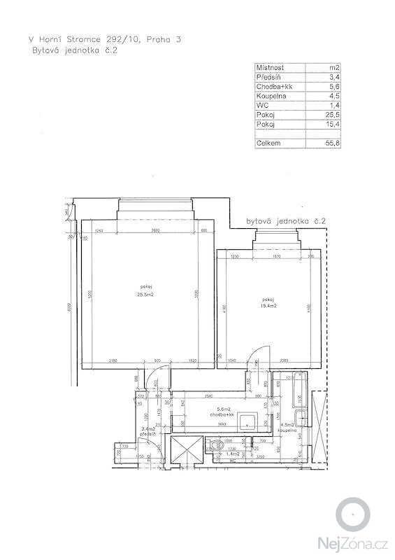 Rekonstrukce bytu 2+kk - 56 m2: Pudorys
