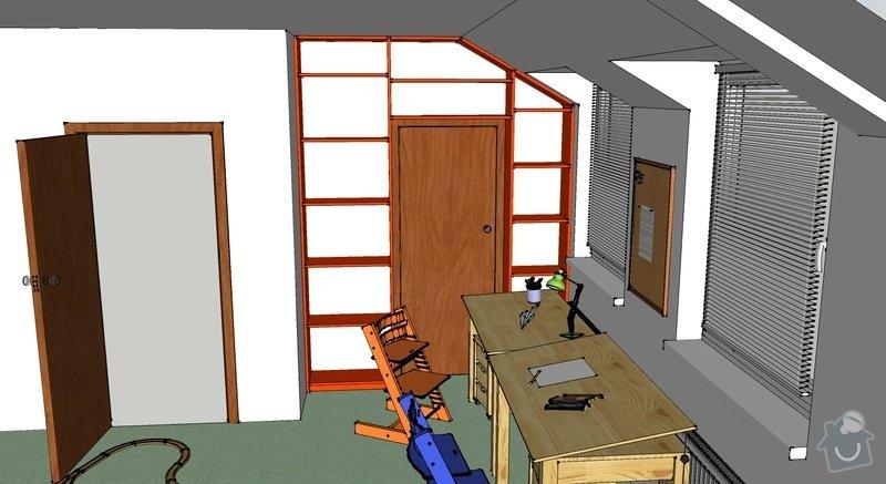 Truhlářská výroba - Pracovní stůl a Knihovna: knihovna-prehled