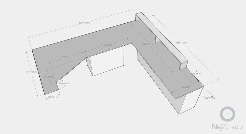 Truhlářská výroba - Pracovní stůl a Knihovna: stul-rozmery