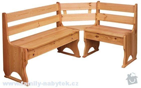 Jídelní stůl + rohová lavice + židle: lavice