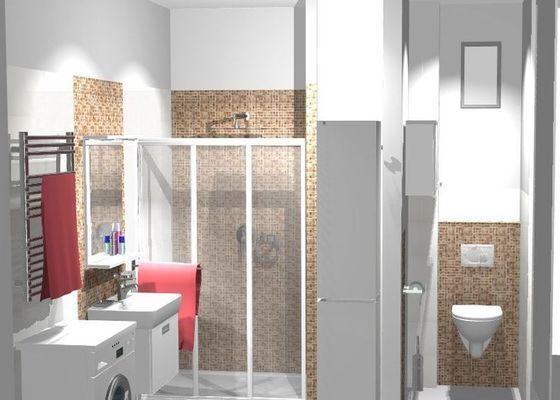 Kompletní rekonstrukce koupelny a WC v cihlovém domě v 6.NP