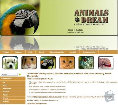 Tvorba E-shopu animalsdream.cz: animalsdream