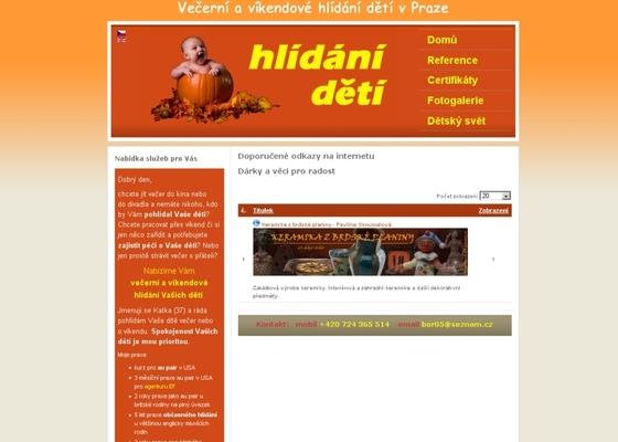 Vytvoření webových stránek pro službu Hlídání dětí