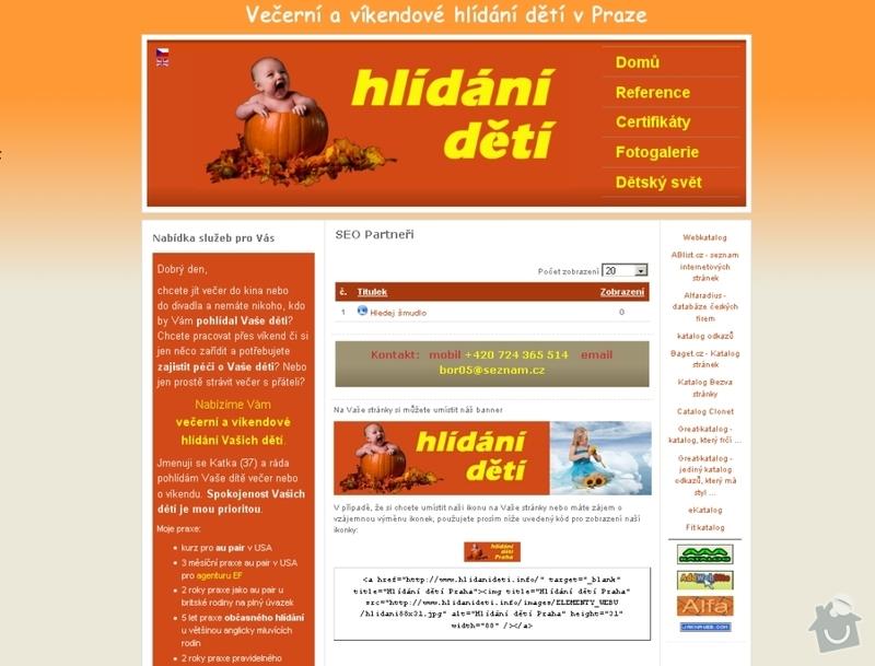 Vytvoření webových stránek pro službu Hlídání dětí: hlidani_deti_100