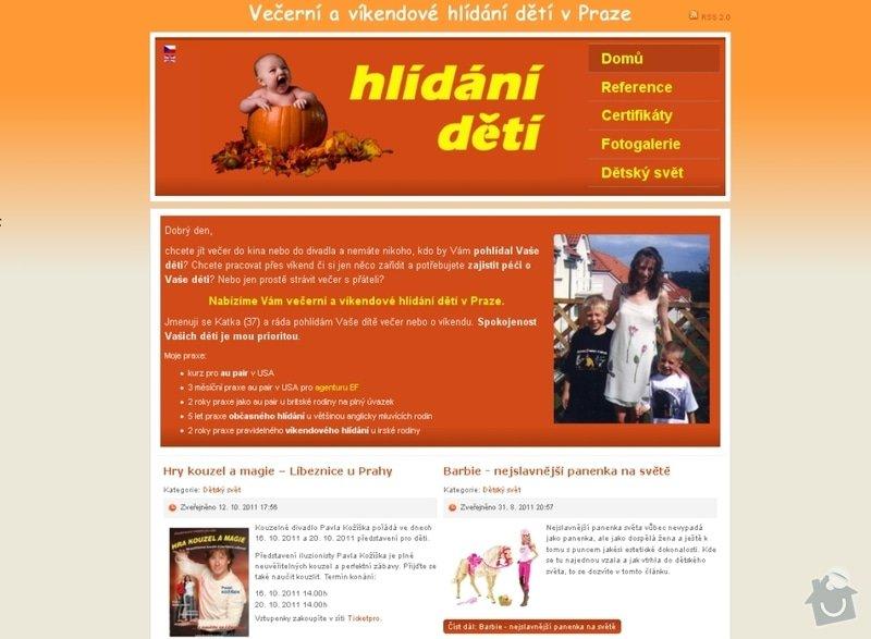 Vytvoření webových stránek pro službu Hlídání dětí: hlidani_deti_101