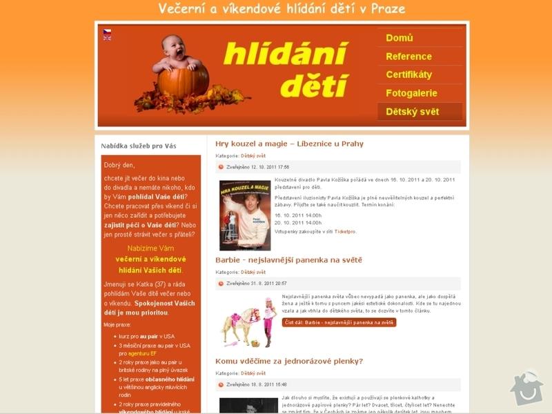 Vytvoření webových stránek pro službu Hlídání dětí: hlidani_deti_105