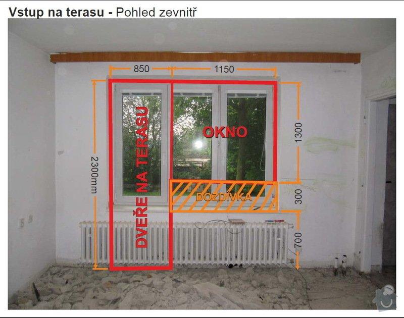 Dveře + okno terasa, okno koupelna: 01TerasaVnitrek