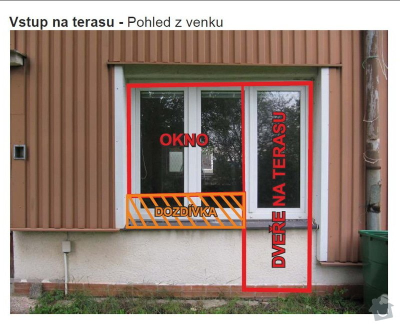 Dveře + okno terasa, okno koupelna: 02TerasaZvenku