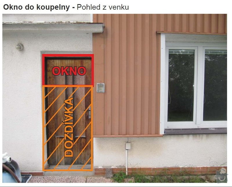 Dveře + okno terasa, okno koupelna: 04KoupelnaZvenku
