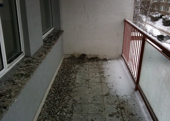 Kompletní úklid bytu po rekonstrukci, vyčištění lodžie od holubího trusu
