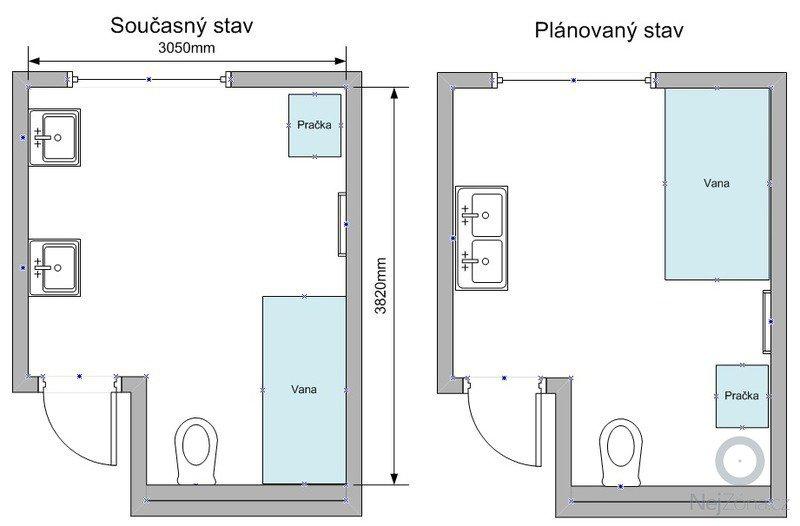 Rekonstrukce koupelny: Planek