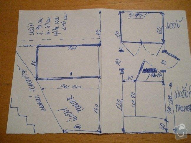 Skříň a úložný prostor pod schodištěm: nacrtek