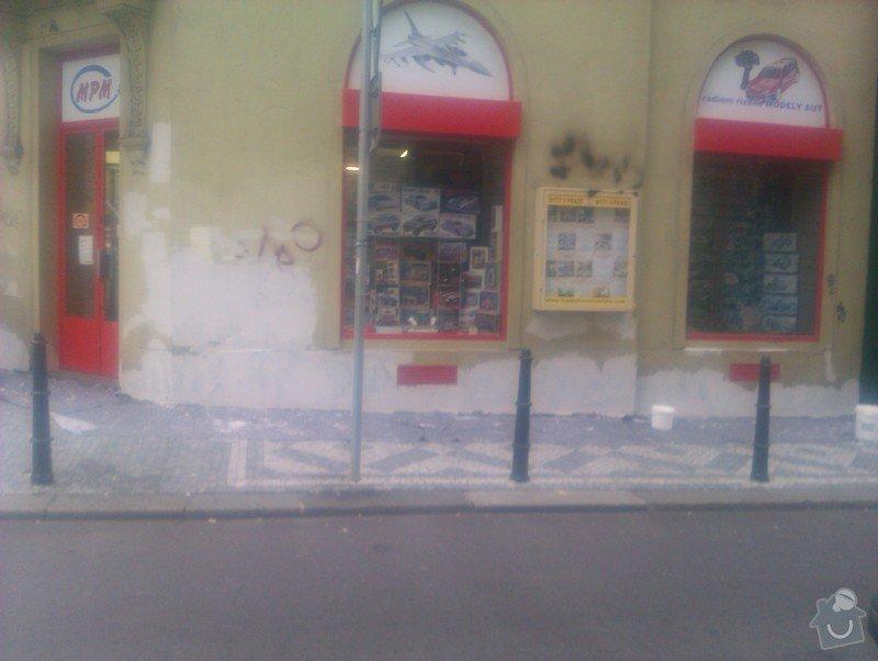 Nátěr fasády s vyspravením podkladu a nátěr výloh: IMAG0063