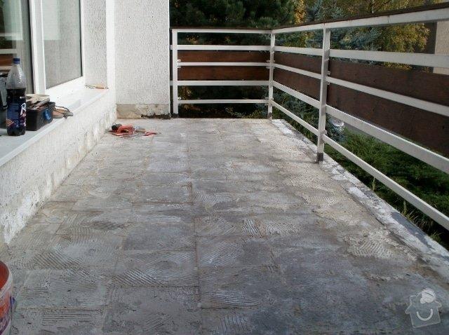 Rekonstrukce dlažby na terase. Odstranění staré dlažby, srovnání, hydroizolační stěrka a pokládka nové dlažby.: PA290224_640x478_