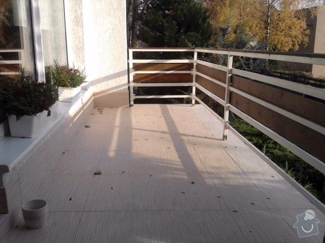 Rekonstrukce dlažby na terase. Odstranění staré dlažby, srovnání, hydroizolační stěrka a pokládka nové dlažby.: P141111_14.02