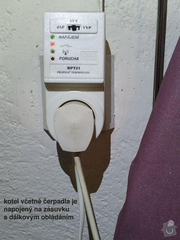Topení - výměna cirkulalčního čerpadla u plynového kotle a 3 starých regulátorů u topení za nové, termostatické.: Spinac_kotle